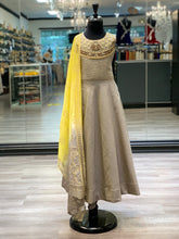Load image into Gallery viewer, Grey + Yellow Anarkali