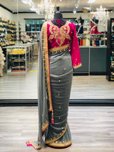 Load image into Gallery viewer, Fuchsia And Grey Saree