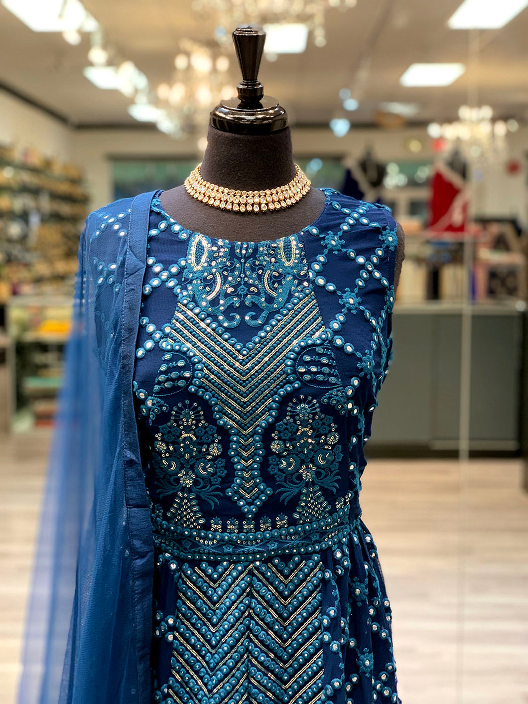 Prussian Blue Anarkali