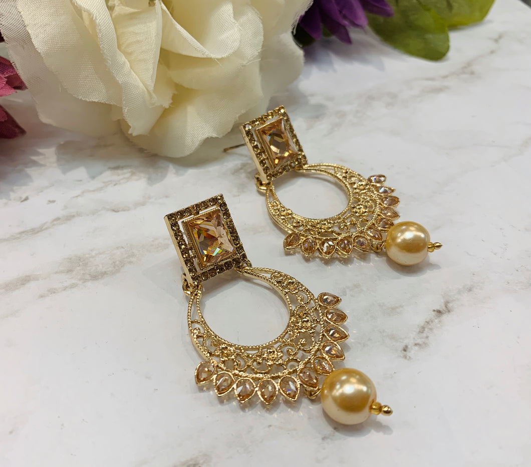 Crescent Gold + Pearl Earrings
