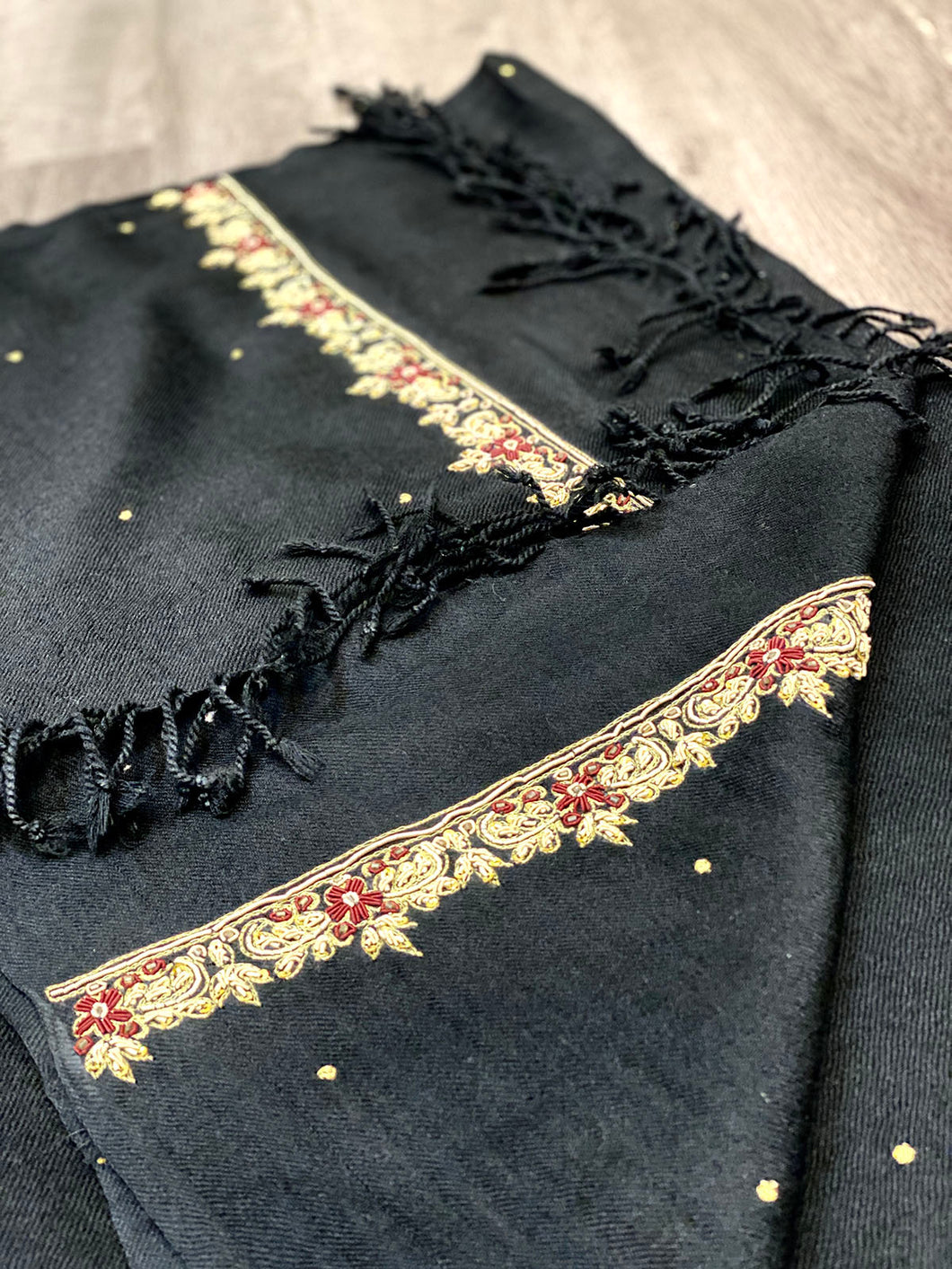Embroidered Black Shawl