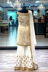 Embroidered White Gharara