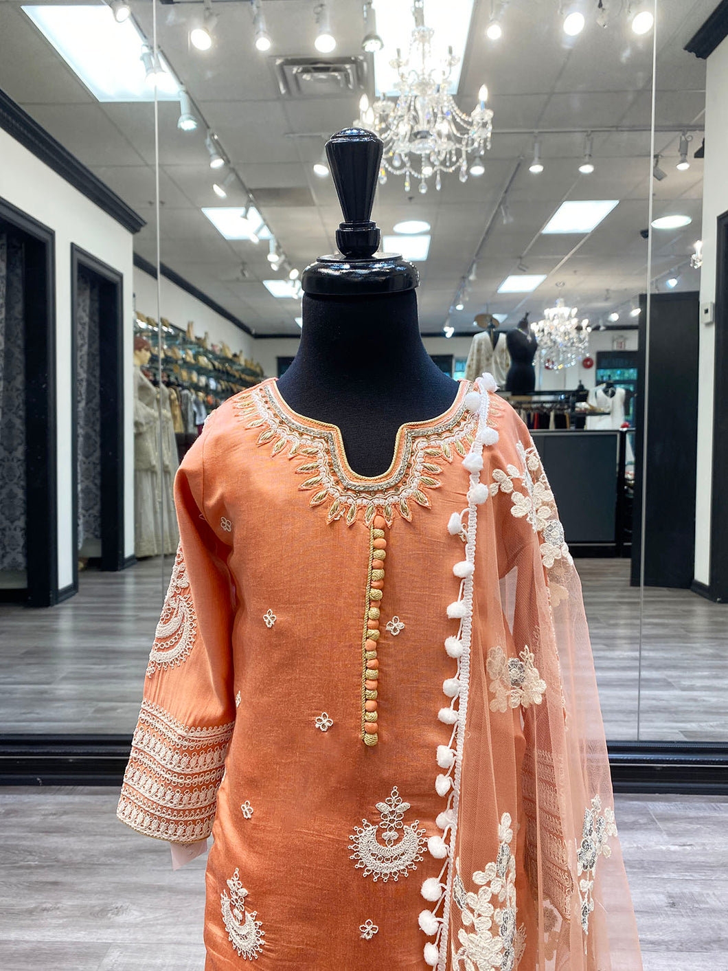 Girls Zoya Peach Kameez