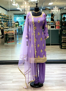 Purple Embroidered Suit