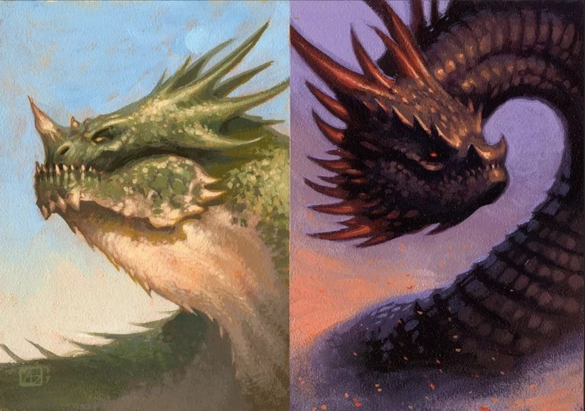 Deux illustrations de dragons