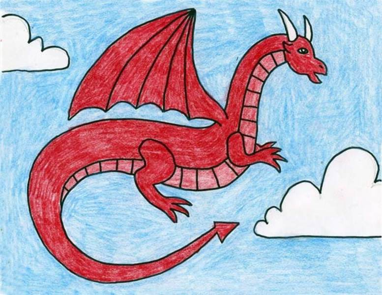 Dessin dragon rouge