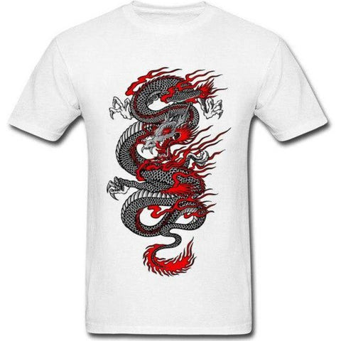 T-Shirt Blanc Dragon Rouge