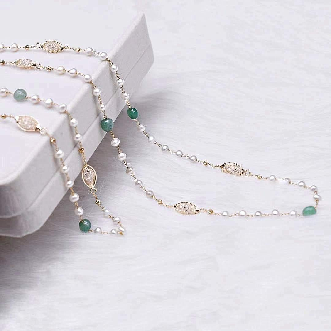 Freshwater Pearl Long Necklace - Aventurine - Akuna Pearls