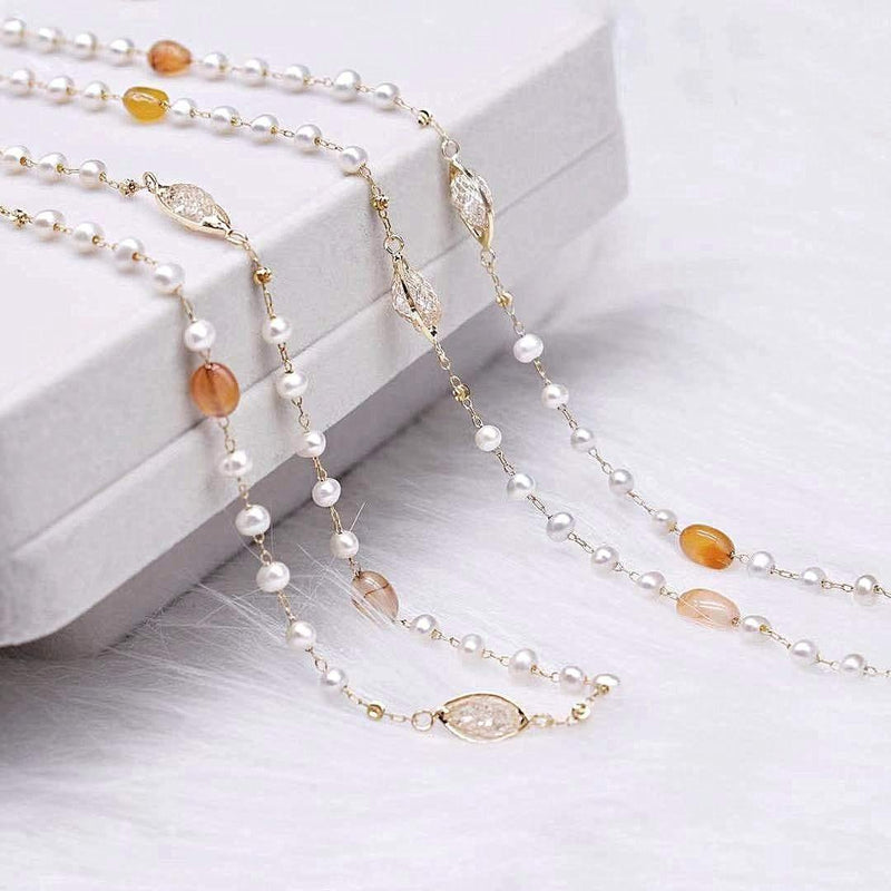 Freshwater Pearl Long Necklace - Agate