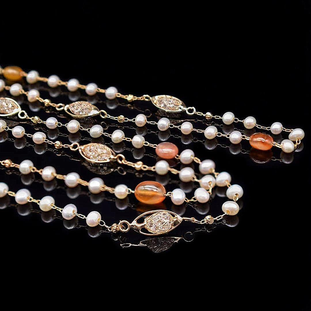 Freshwater Pearl Long Necklace - Agate - Akuna Pearls