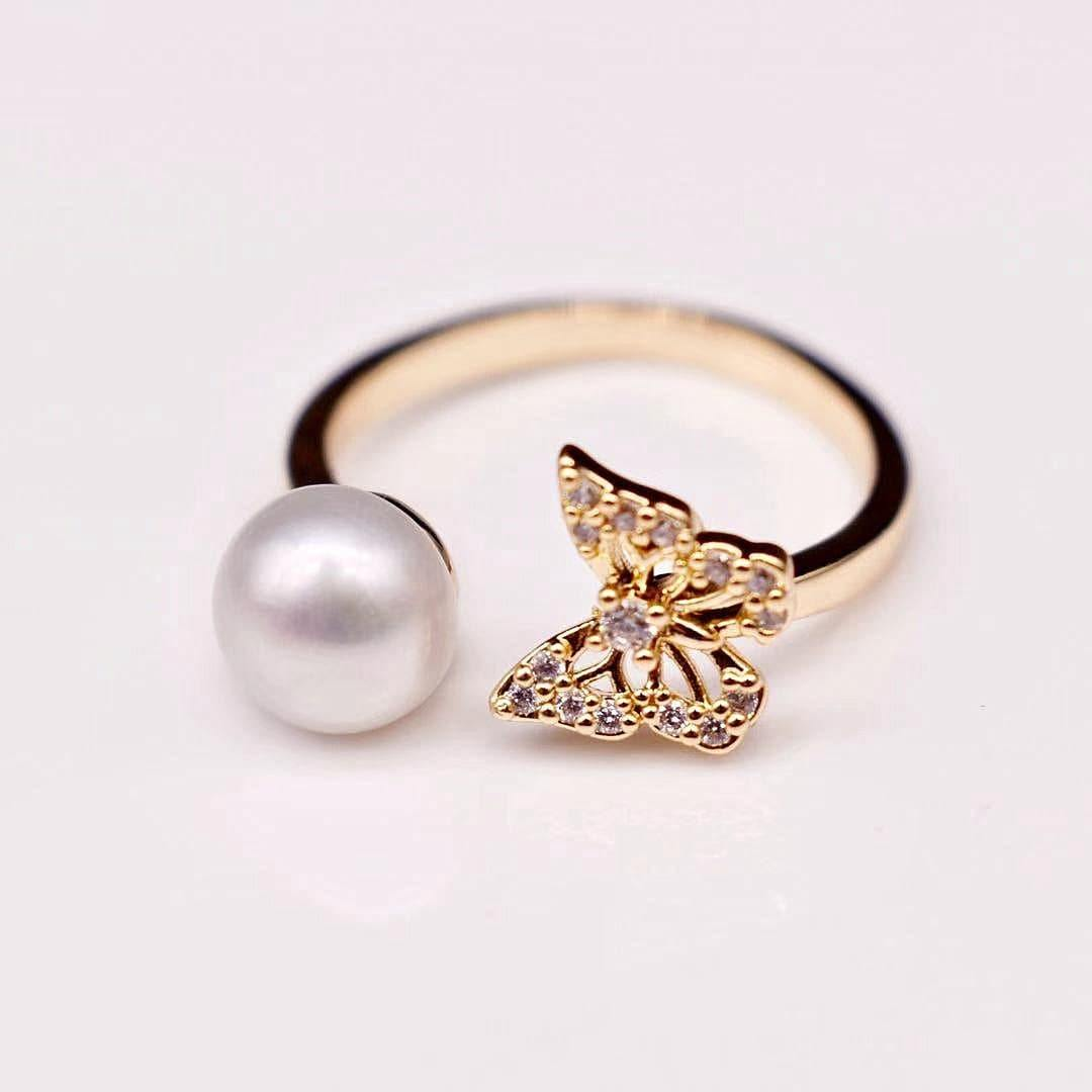 Freshwater Pearl Open Ring - Vanessa - Akuna Pearls