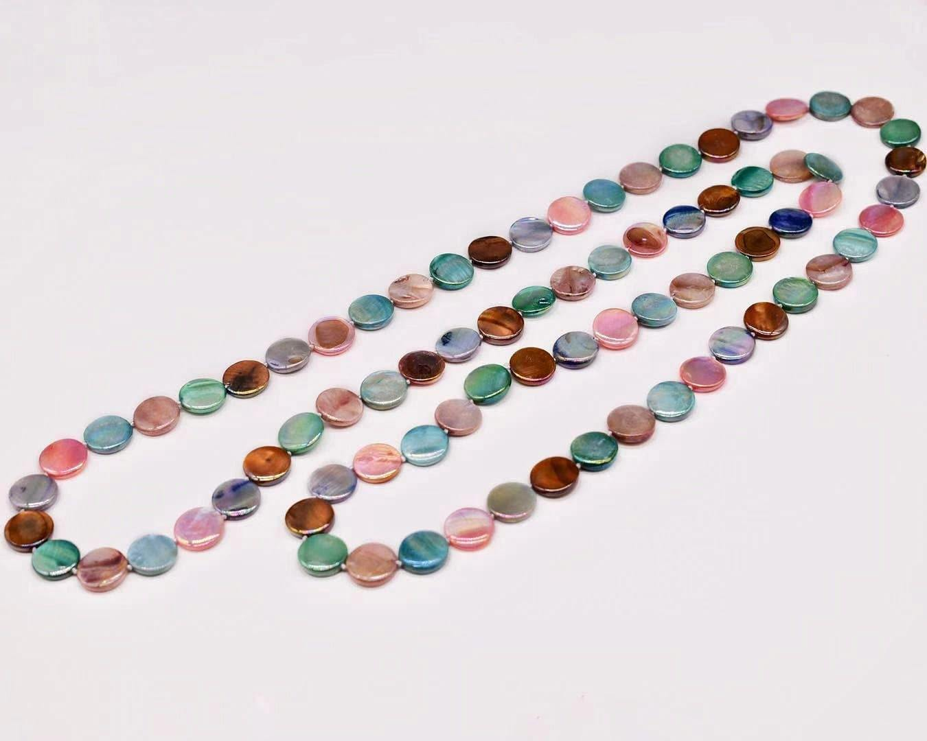 Mother of Pearls Long Necklace - Disc - Akuna Pearls