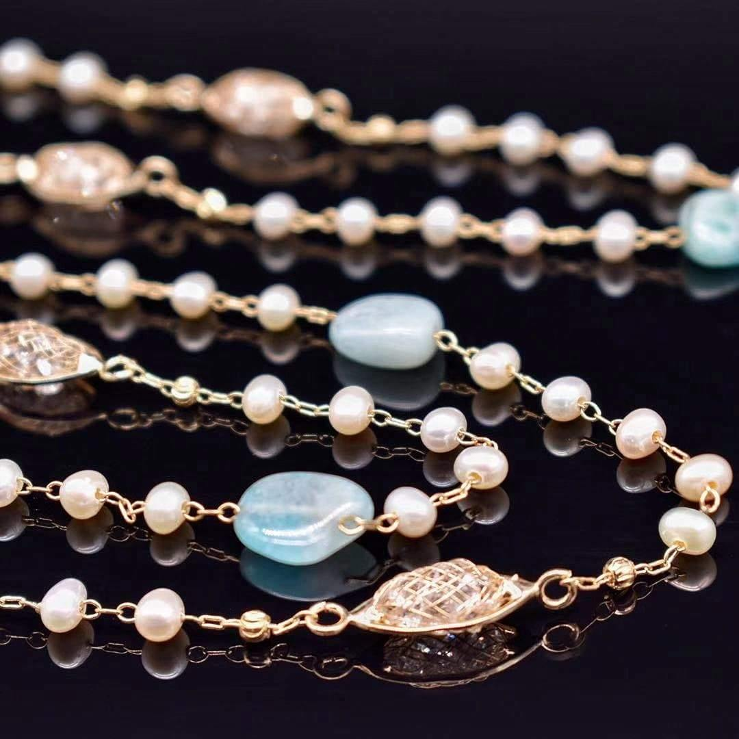 Freshwater Pearl Long Necklace - Beryl - Akuna Pearls