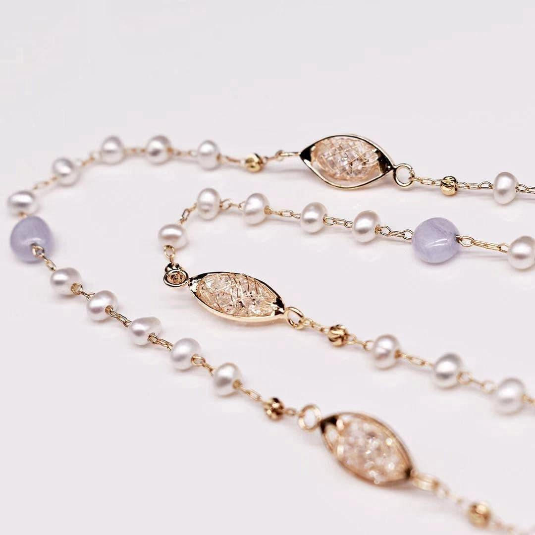 Freshwater Pearl Long Necklace - Verna - Akuna Pearls