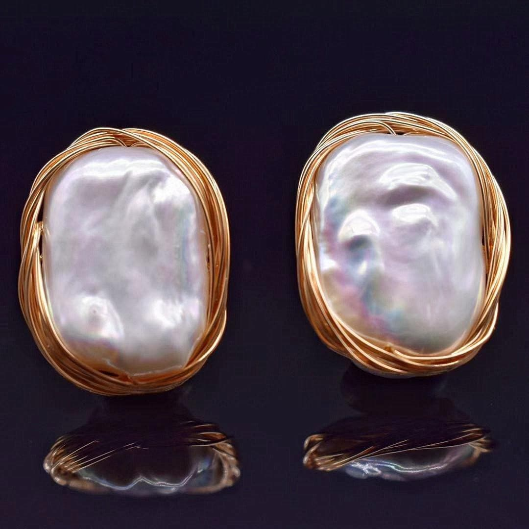 Baroque Pearl Earrings - Keshet - Akuna Pearls