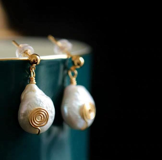 Baroque Pearl Earrings - Hema | Akuna Pearls | Freshwater Pearl Jewellery | Made in Australia