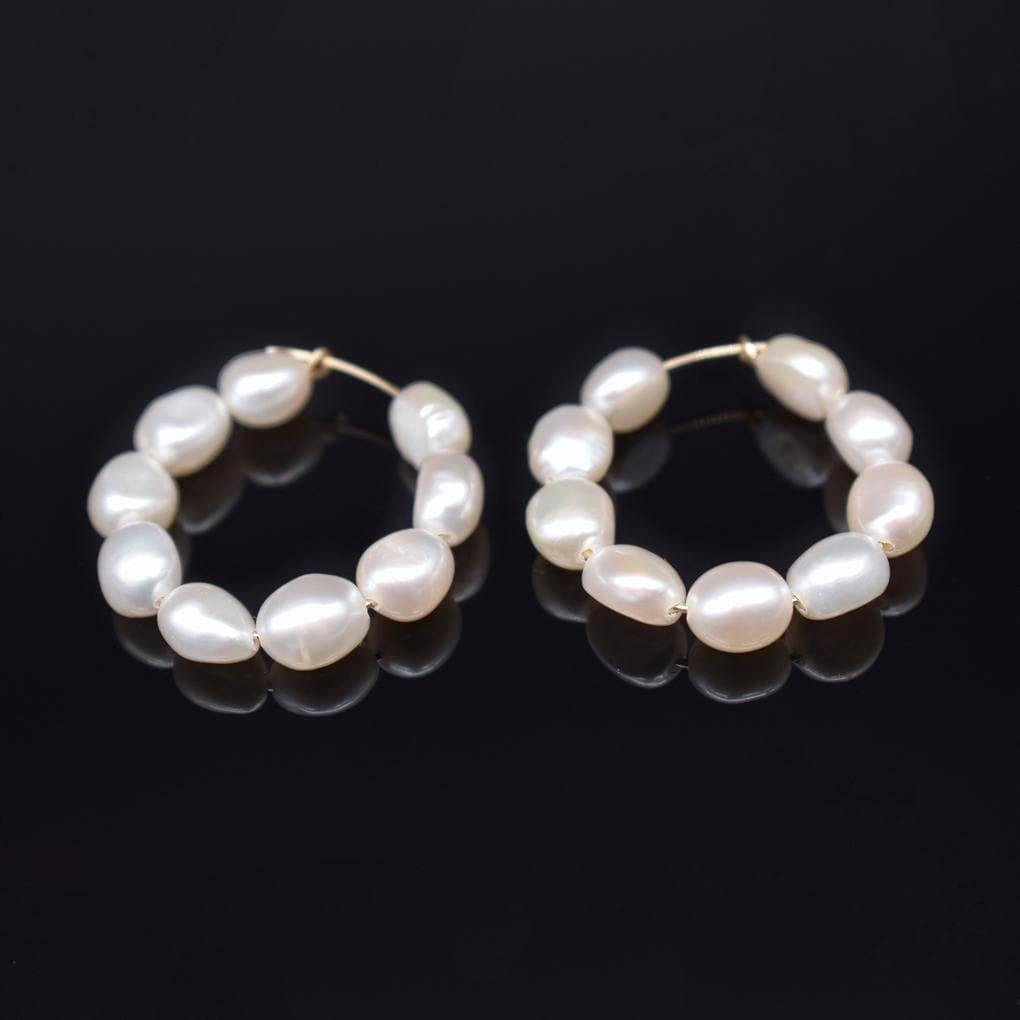 Baroque Pearl Hoop Earrings - Freya