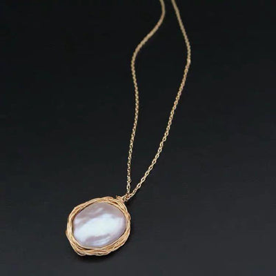 Baroque Pearl Necklace - Gold Edge | Akuna Pearls | Freshwater Pearl Jewellery | Made in Australia