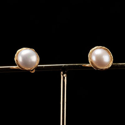 Baroque Pearl Studs - Gold Edge | Akuna Pearls | Freshwater Pearl Jewellery | Made in Australia