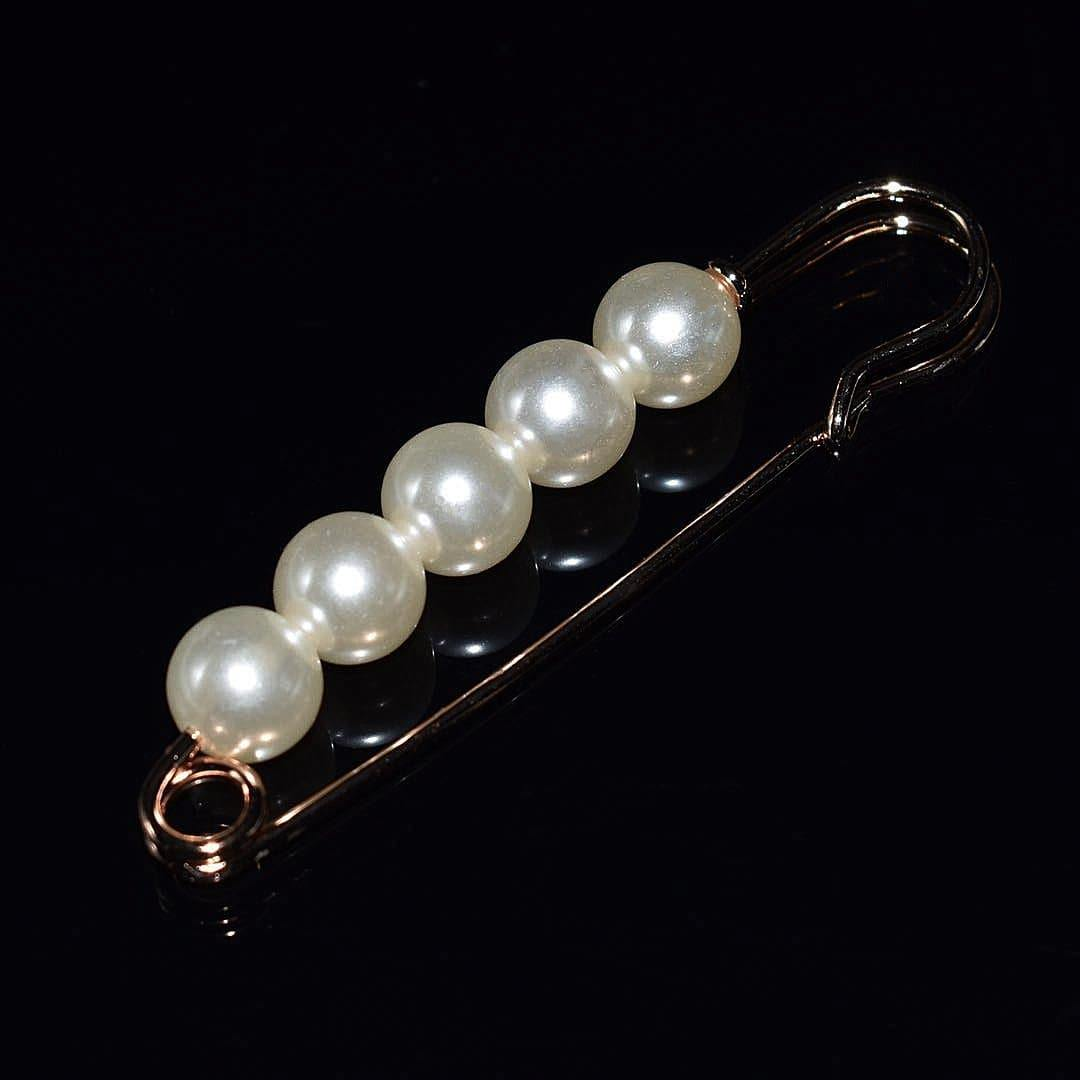 Faux Pearl Fashion Pin - Gold Safety Pin Design - Akuna Pearls