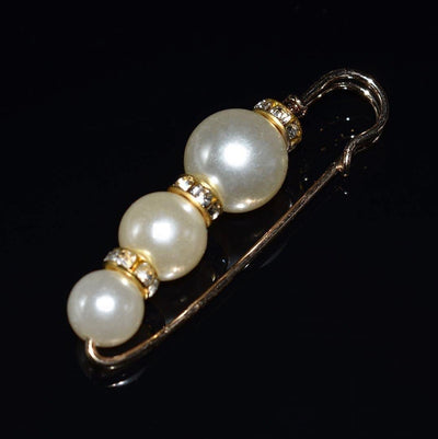 Faux Pearl Fashion Pin - Gold Safety Pin Design | Akuna Pearls | Freshwater Pearl Jewellery | Made in Australia