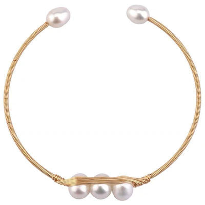 Freshwater Pearl Bangle - Bean Pod - Akuna Pearls