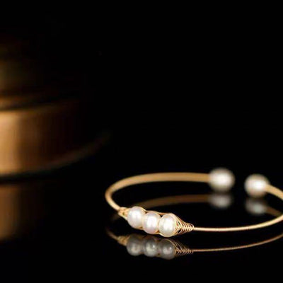 Freshwater Pearl Bangle - Bean Pod | Akuna Pearls | Freshwater Pearl Jewellery | Made in Australia