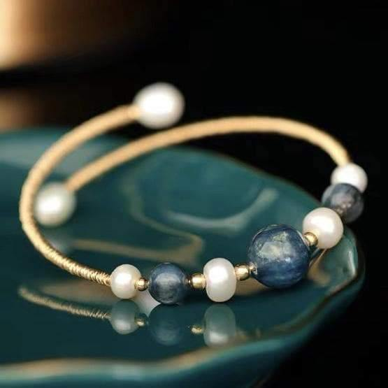Freshwater Pearl Bangle - Kyanite - Akuna Pearls