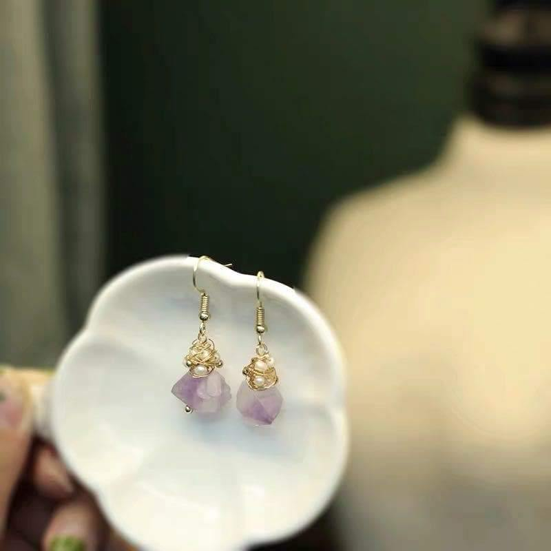 Freshwater Pearl Earrings - Amethyst Hooks | Akuna Pearls | Freshwater Pearl Jewellery | Made in Australia