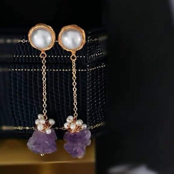 Freshwater Pearl Earrings - Amethyst Drops | Akuna Pearls | Freshwater Pearl Jewellery | Made in Australia