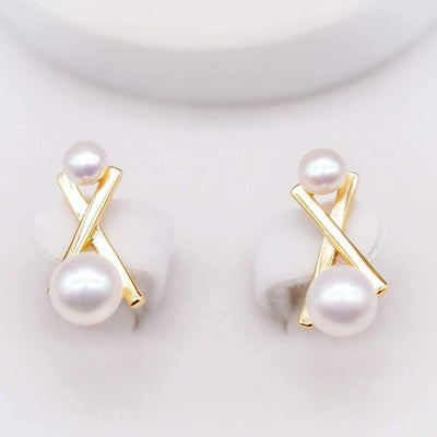 Freshwater Pearl Earrings - Balance Cross
