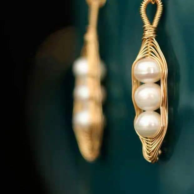 Freshwater Pearl Earrings - Bean Pod - Akuna Pearls