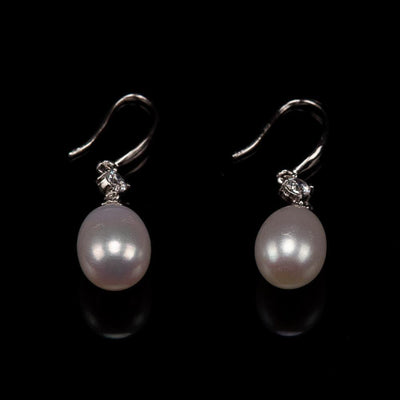 Freshwater Pearl Dropping Earrings - Grace White | Akuna Pearls | Freshwater Pearl Jewellery | Made in Australia