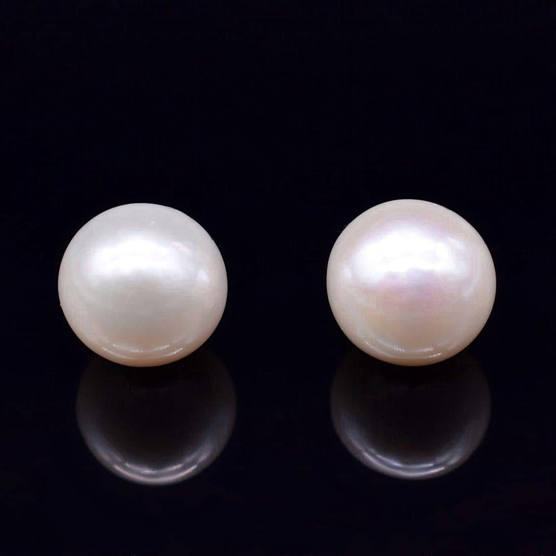 Freshwater Pearl Stud Earrings 13mm Off Round | Akuna Pearls | Freshwater Pearl Jewellery | Made in Australia