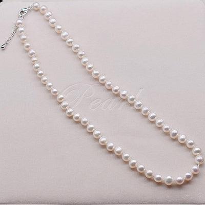 Classic Freshwater Pearl Necklace 8mm Oval | Akuna Pearls | Freshwater Pearl Jewellery | Made in Australia