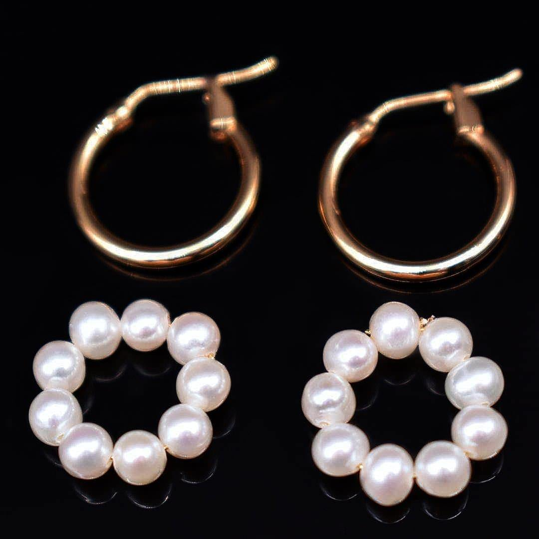 Freshwater Pearl Hoop Earrings - Pon De Ring - Akuna Pearls