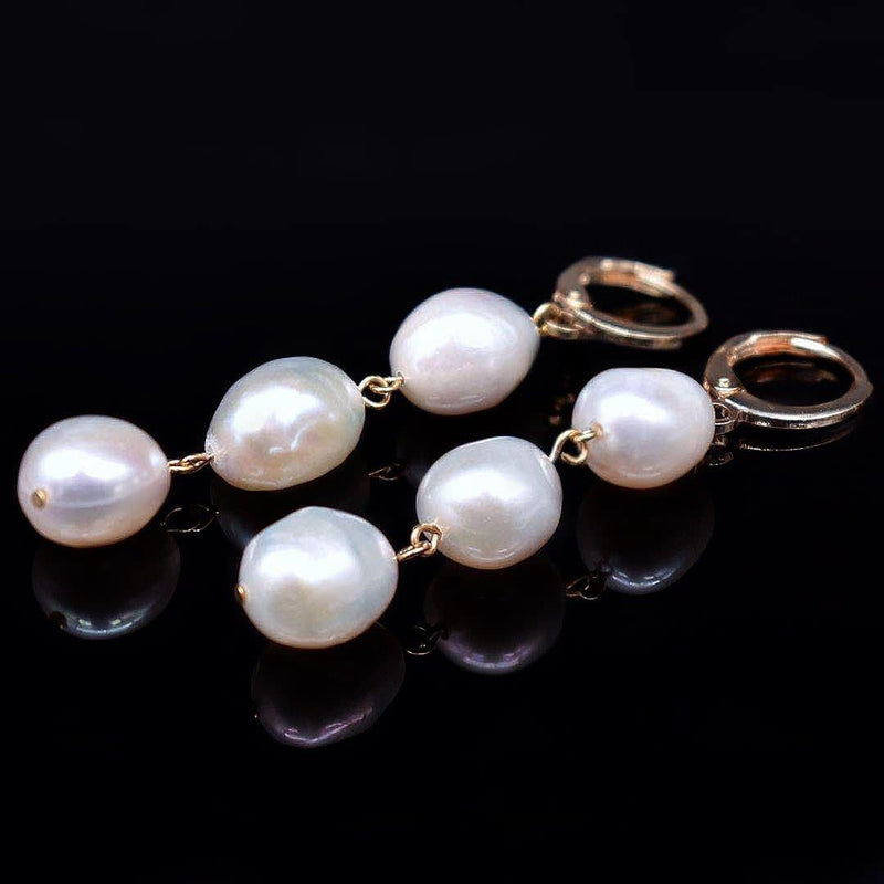Baroque Pearl Hoop Earrings - Valentina