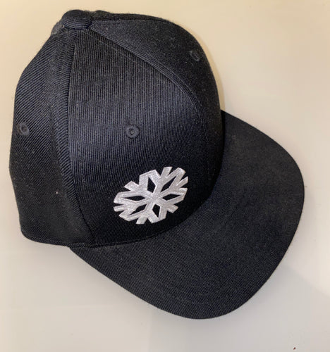 Black Snowflake Logo Flex Fit Snap Back Hat