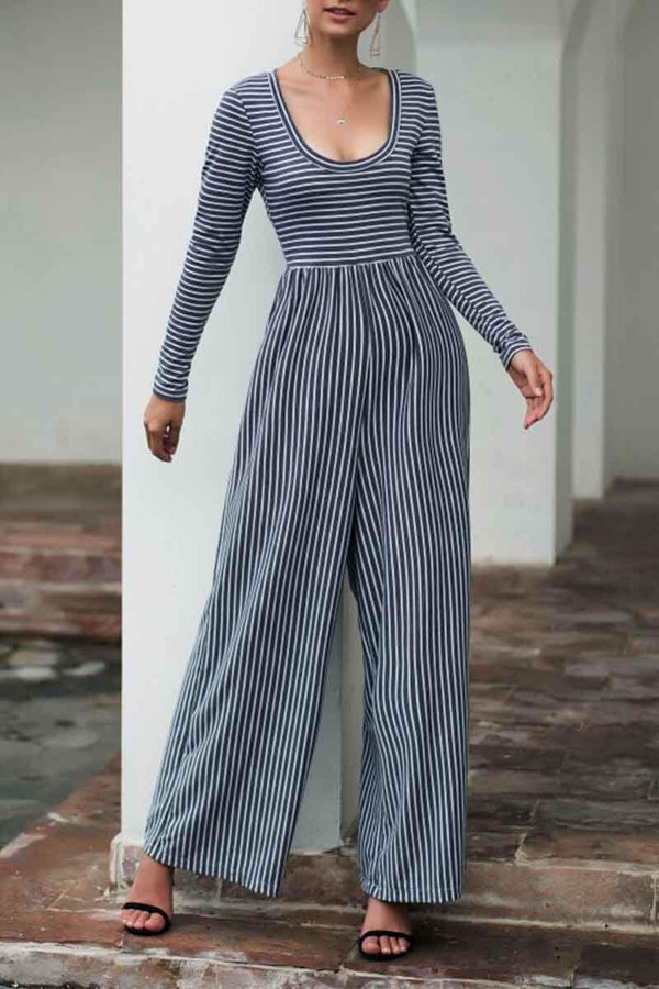 Motachic  U Neck Striped Autumn Jumpsuits