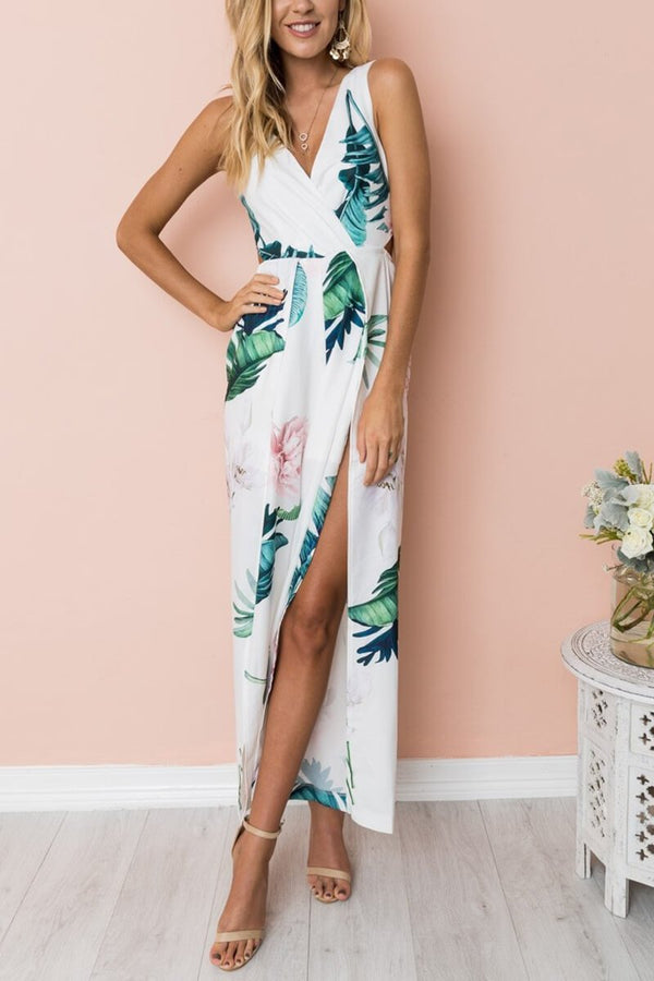 Motachic Digital Printed V-Neck Jumpsuit