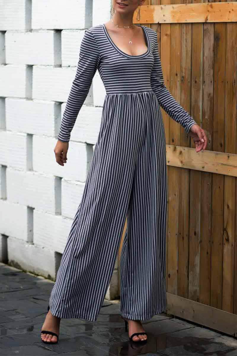 Lopolly  U Neck Striped Autumn Jumpsuits