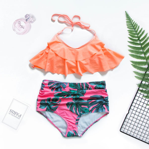 Lopolly Sexy Flounce Printing Two-piece Swimwear