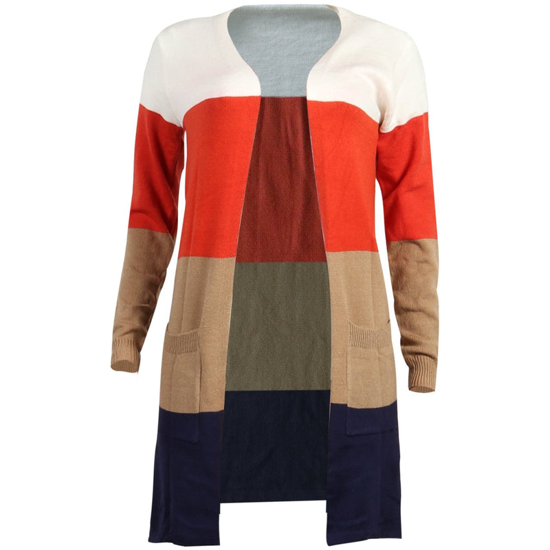 Lopolly Color-lump Patchwork Long Multicolor Cardigan