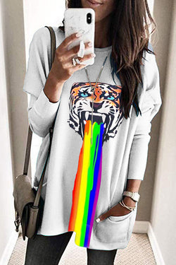 Lopolly Tiger Print Rainbow Long Sleeve Tops