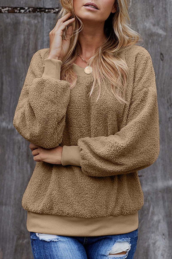 Lopolly Teddy Plush Sweater Casual Tops