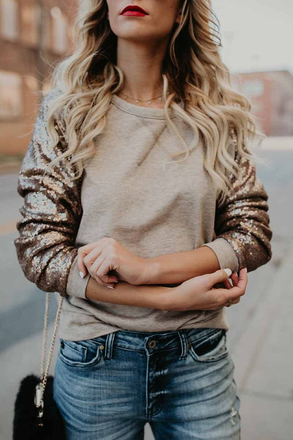 Lopolly Fashion Sequin Khaki Tops