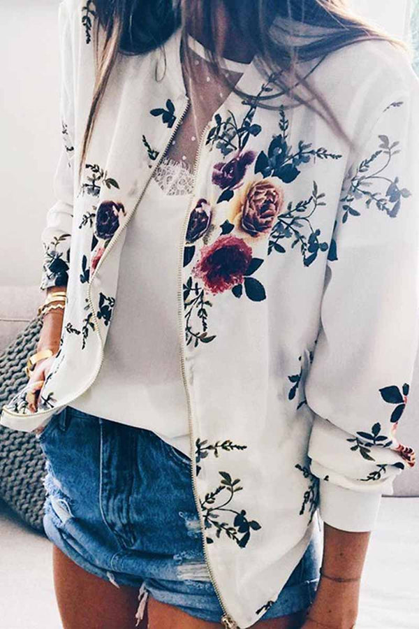 Lopolly Fashion Printed Crew Neck Jacket