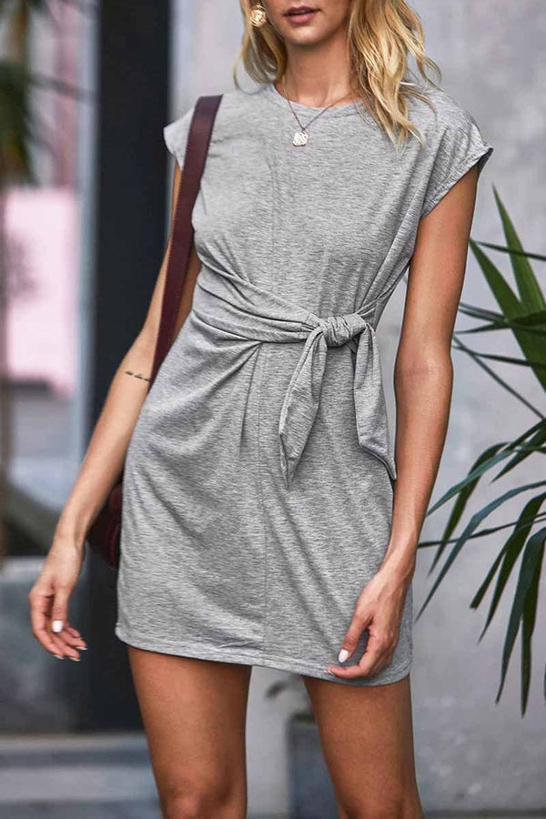 Lopolly Essential O Neck Knot Design Mini Dress