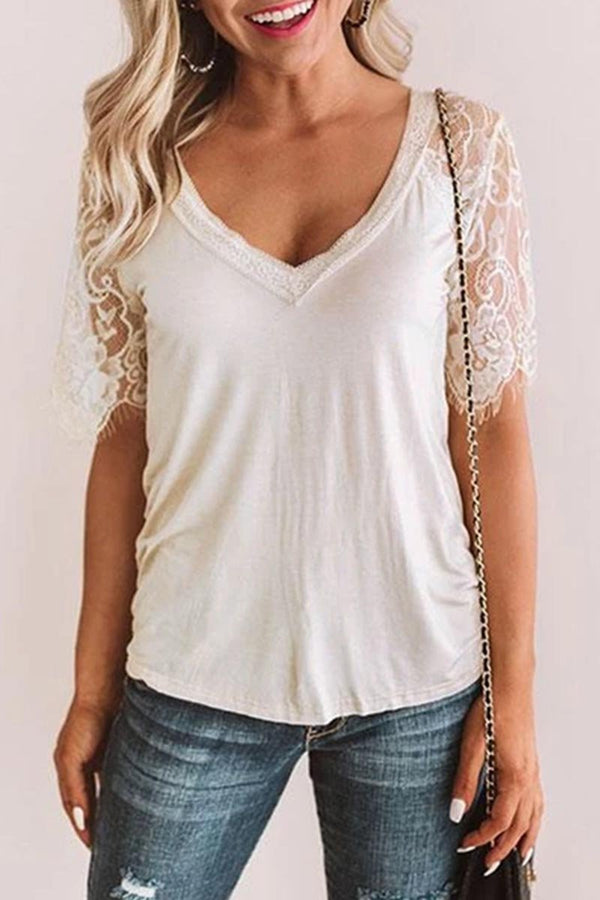 Lopolly V Neck Lace Trim Patchwork T-shirt(Extra Offer)