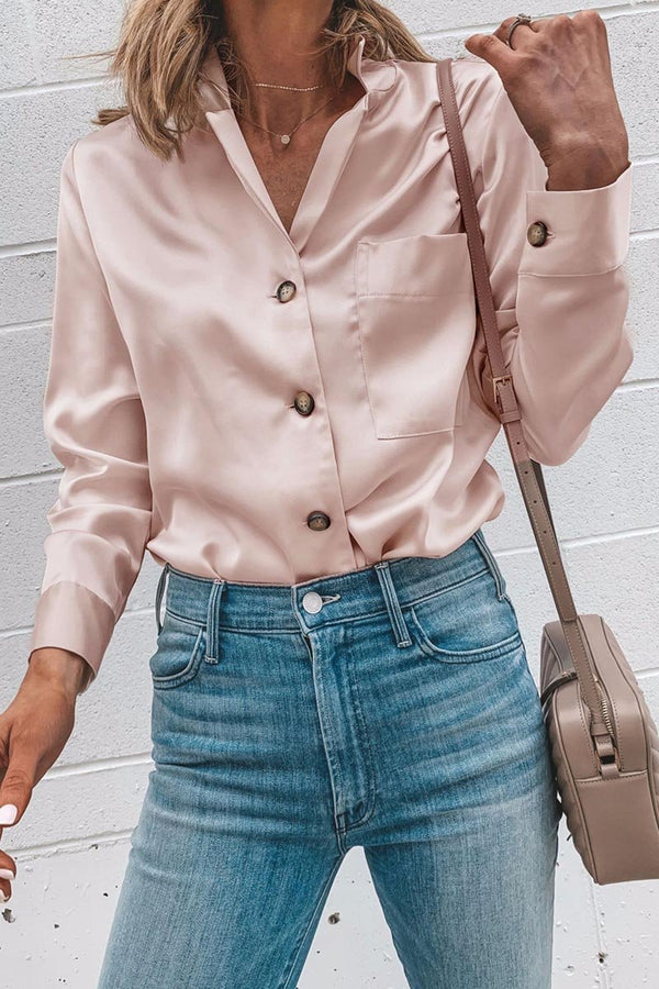 Lopolly Suit Collar Long Sleeve Blouse